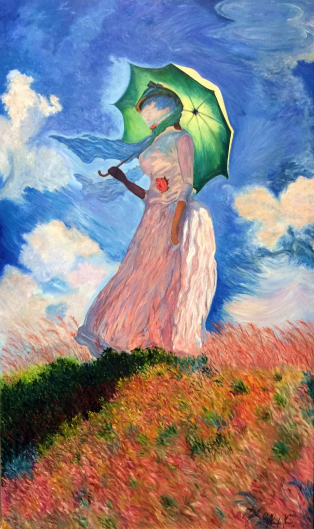 Interpretation of Woman with a Parasol Facing Left, 1886 - Claude Monet - O.S.T. (Oil on Canvas - 23,7 x 39,4 in) monet french master woman parasol facing