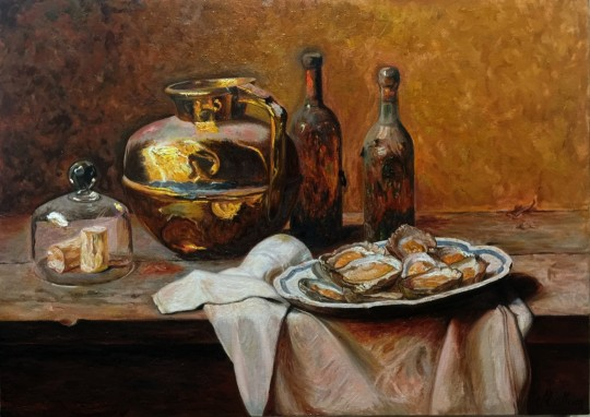 Interpretation of the Original Work Oysters by Master Brazilian Painter Pedro Alexandrino - Study