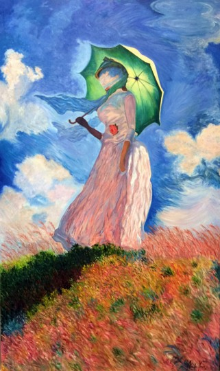 Interpretation of Woman with a Parasol Facing Left, 1886 - Claude Monet - O.S.T. (Oil on Canvas - 23,7 x 39,4 in)