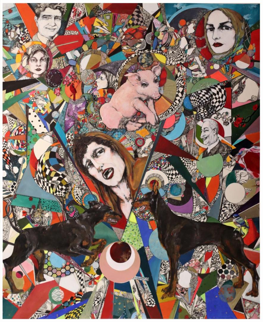 Animal Farm - artwork by Maryam Mobasseri:  Portraits, Pop, Mixed Media, Paper