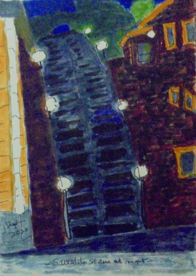 Sausalito Stairs at Night - artwork by Jackie Shepler:  Architecture, Impressionism, Watercolor, Paper