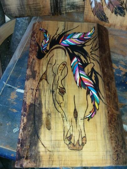 Hand woodburning horse
