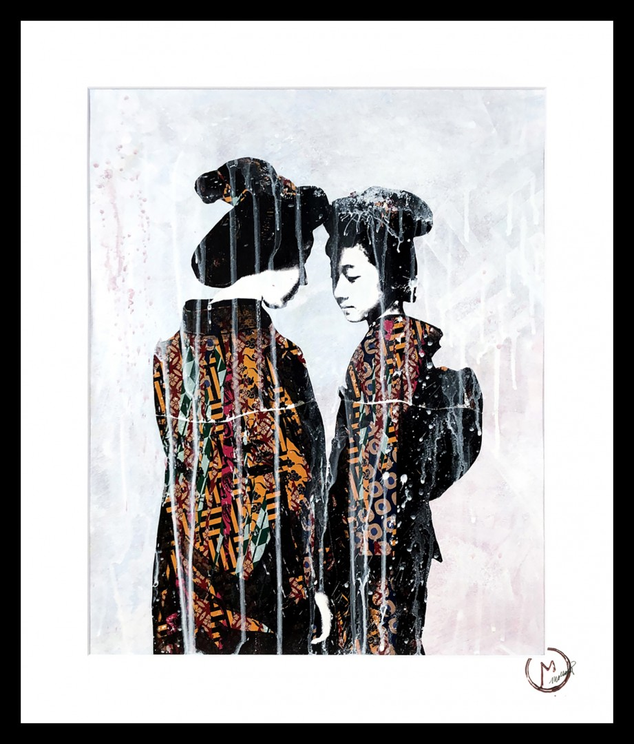 Two Sisters - artwork by Modesty Most: women, japanese, geisha, colorful, contemporary, elegant, fashion