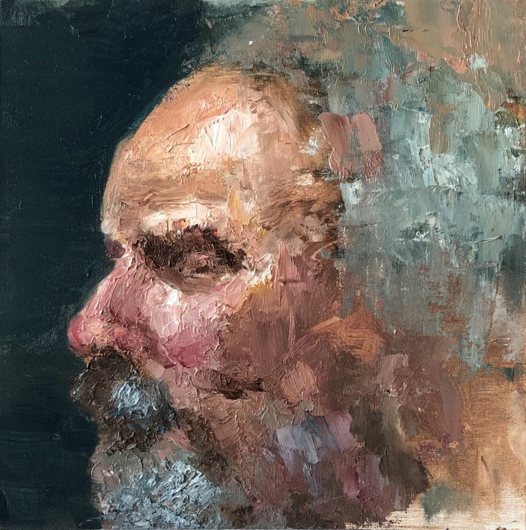 Old Man - artwork by Chen An Lin:  Portraits, Expressionism, Oil, MDF Panel