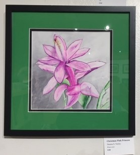 Pink Christmas - artwork by Deanna Neeley: cactus flower, Christmas cactus, floral, watercolor, pink Botanical,