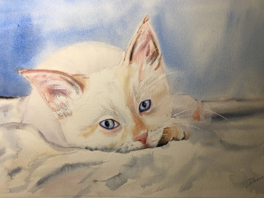 Miss Princess - artwork by Deanna Neeley: white cat, cat, watercolor, reclining cat Animals, Classical, Watercolor, Paper