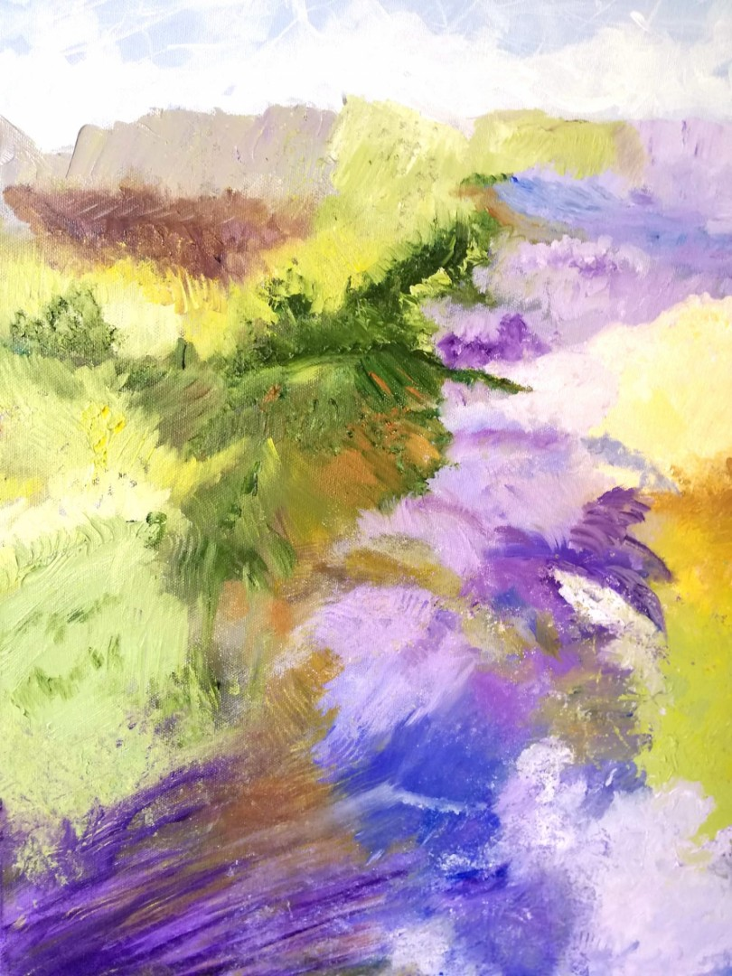 Scents of lavander - artwork by Nelly Marlier: bright colors, strong brush strokes, luminosity Abstract, Minimalism, Oil, Canvas