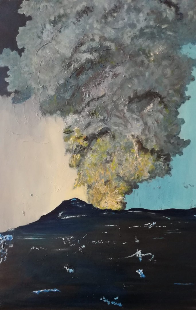 Ashes - artwork by Nelly Marlier: unpredictability, nature power, volcanic eruption, strong brush strokes Nature, Impressionism, Oil, Canvas