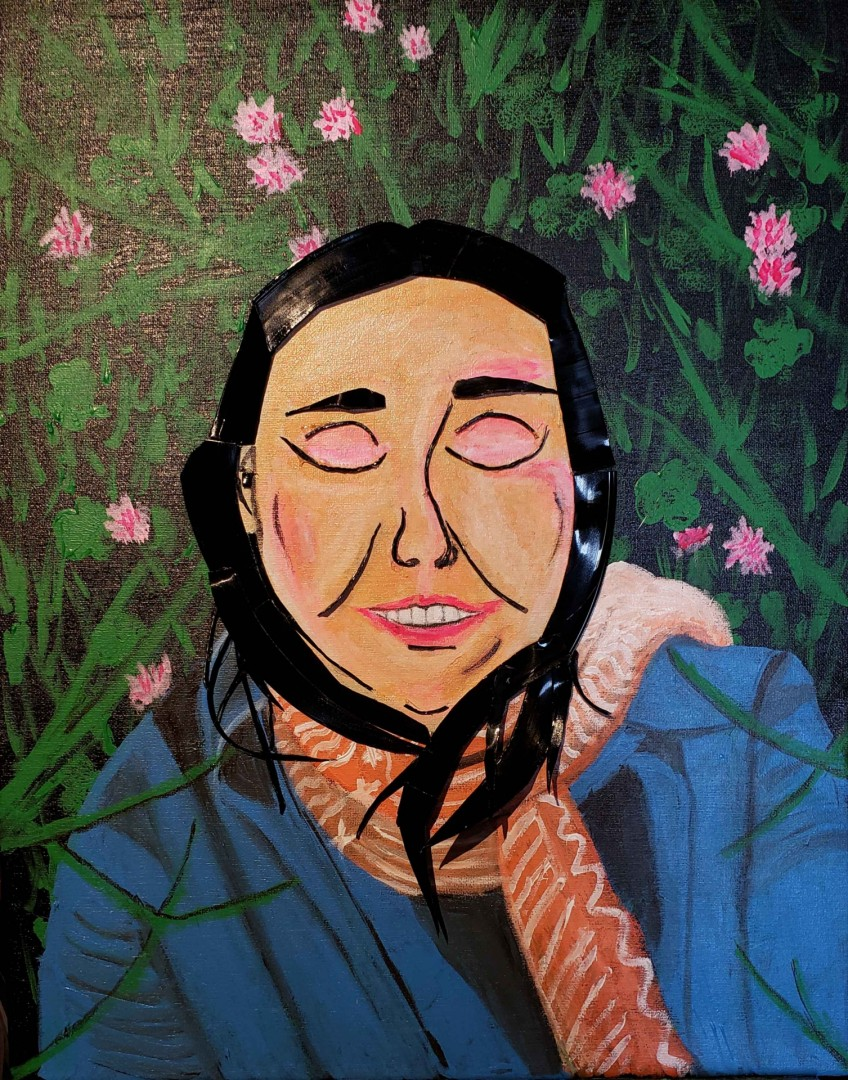 Sweet Bliss - artwork by Tricia Griffin: vinyl, peace, acrylic, nature, flowers, covers, grass, girl, smile, scarf, jacket, Continually, creating, sleeping, pink Nature, Expressionism, Mixed Media, Canvas (stretched)