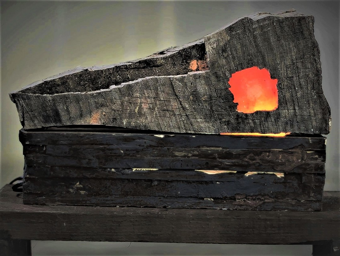Cool Fire - artwork by Ed Whitmore: patina, metal effects, oxidize, lamp, firelog Nature, Vintage, Found Objects, Other