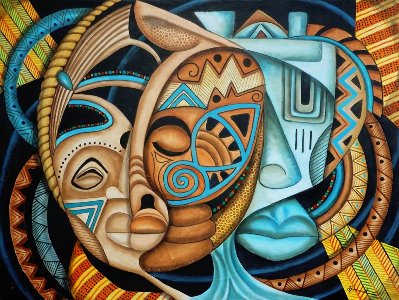 Maruvian Royalty Masks - artwork by Marcella Muhammad: masks, abstract, cultural, ethnic, colorful, Plastic Space, Marcella Muhammad, painting Ethnic, Abstract, Oil, Canvas