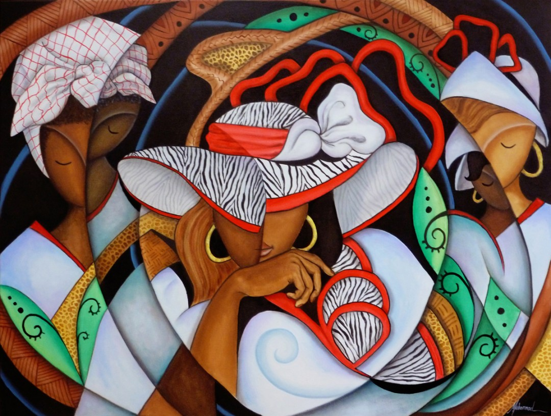Bloodlines - artwork by Marcella Muhammad: family, abstract, oil, painting, women, ancestry, colorful, Plastic Space, Marcella Muhammad Ethnic, Abstract, Oil, Canvas