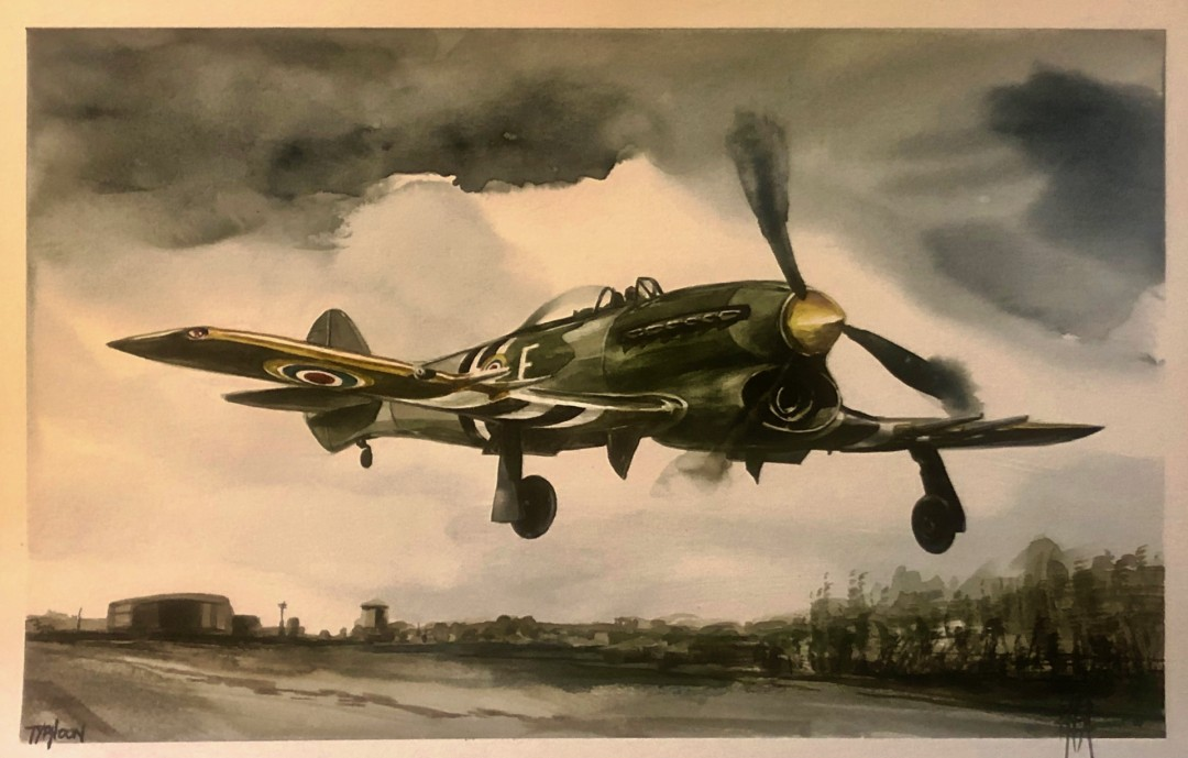 Typhoon - artwork by Thad Austin: Miltary, Aircraft, Hawker Other, Classical, Watercolor, Paper