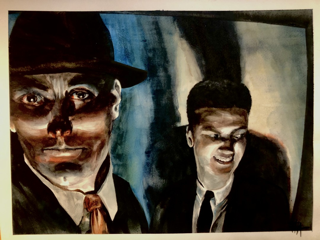 Between Takes - artwork by Thad Austin: film, figures, people Figures, Realism, Watercolor, Paper