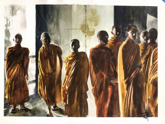 Monks at Angkor Wat (Sketch)