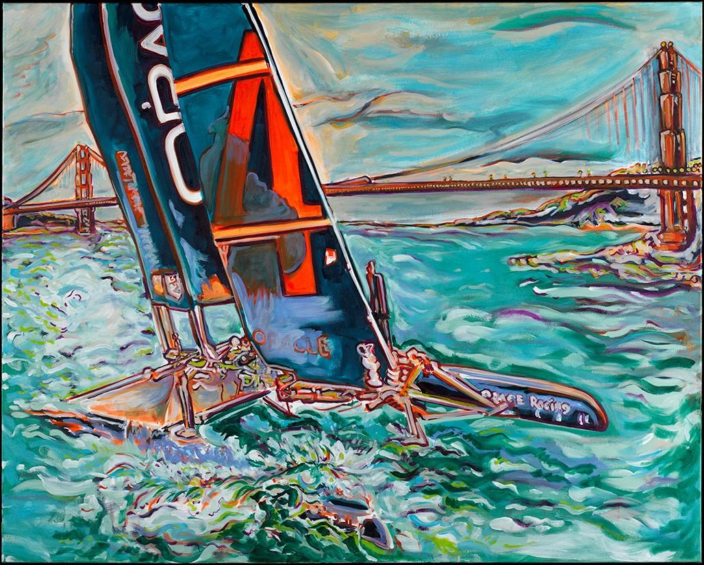 On the Bay - artwork by Damian samuel: #americascup, ,#teamoracle, ,#GoldenGateYachtclub, ,#SanFrancisco2013, #Sanfranciscobay, #Jimmyspithill, #Damiansamuel, #damiansamuelart, #Damiansamuelfineart, #Racing, #YachtRacing, #Oracle, #Potrereohill, #RoyalNewZealandYachtSquadron, #SF2013, #CitybytheBay Sports, Oil, Canvas