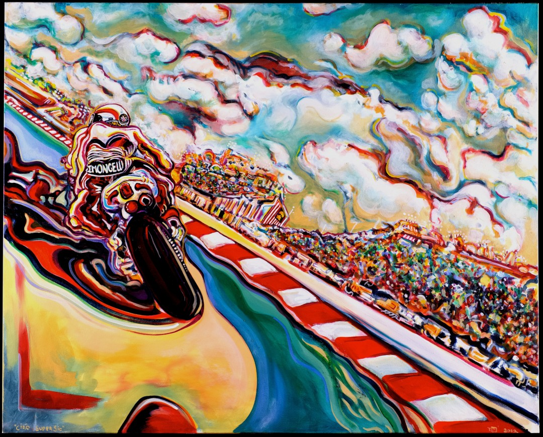 Ciao Super Sic - artwork by Damian samuel: #MarcoSimoncelli, #MotoGP, #MalaysianGP2011, #Rossi46, #ValentinoRossi, #valeyellow46, #Damiansamuel, #Damiansamuelart, #DamianSamuelFineart, #MotoGPART, #Raceart Other, Oil, Canvas