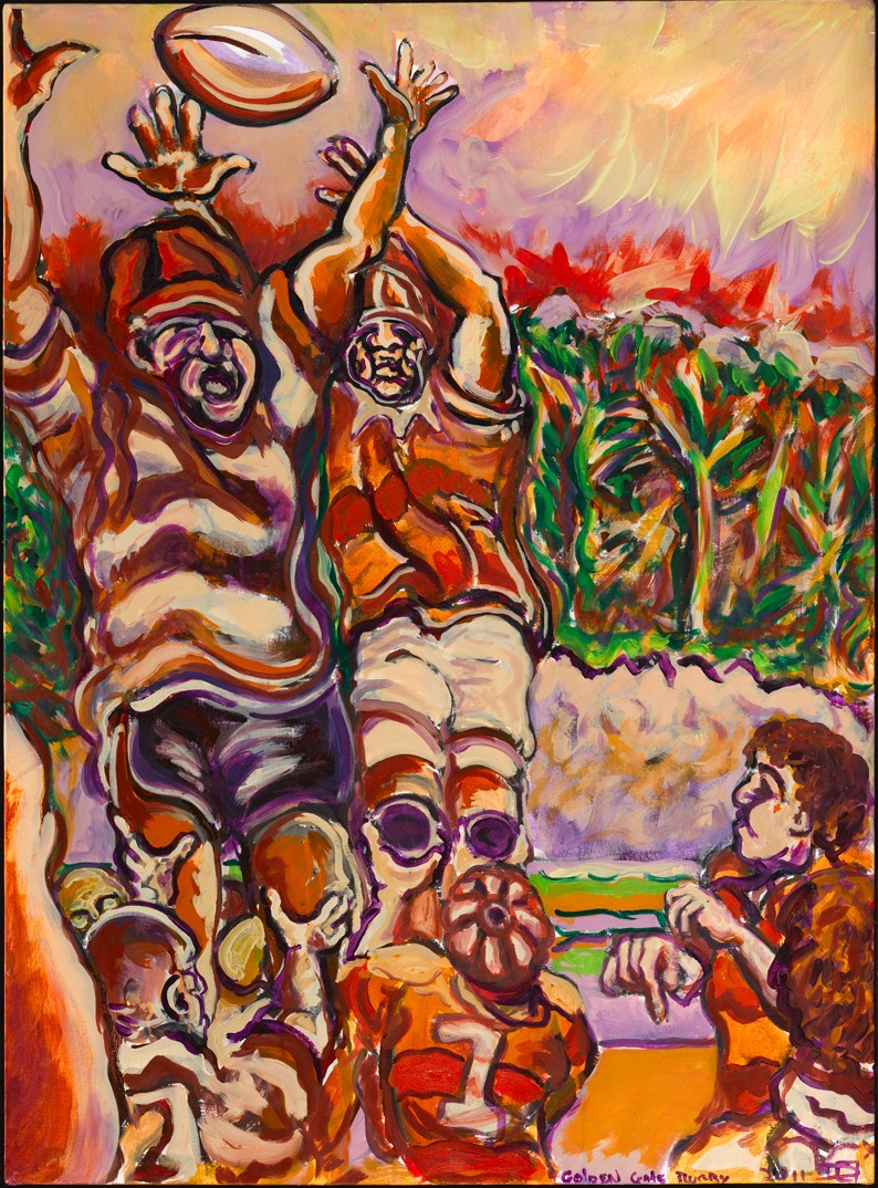 Golden Gate Rugby - artwork by Damian samuel: #GGRugby, #GoldenGateRugby, #SFRugby, #S.F.Rugby, #GoldenGatePark, #SanFrancisco, #DamianSamuel, #DamianSamuelArt, #DamianSamuelFineArt, #Sports Sports, Oil, Canvas