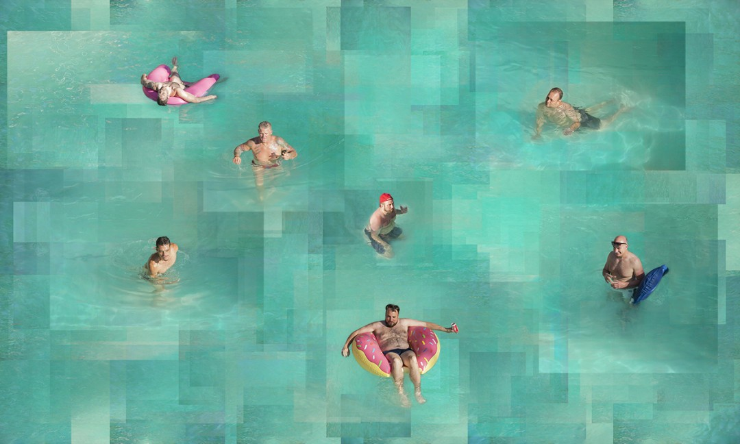 Russian River Dance swimmers portraits swimming pool leisure recreation Russian River gay theme men male figure