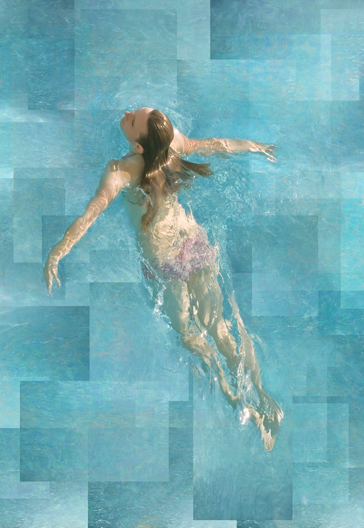 Lift #2 - artwork by Lisa Levine: swimmers, swimming, swimming pools, pools, recreation, sports, dance Figures, Modern, Photography Digital, Archival Ink Jet