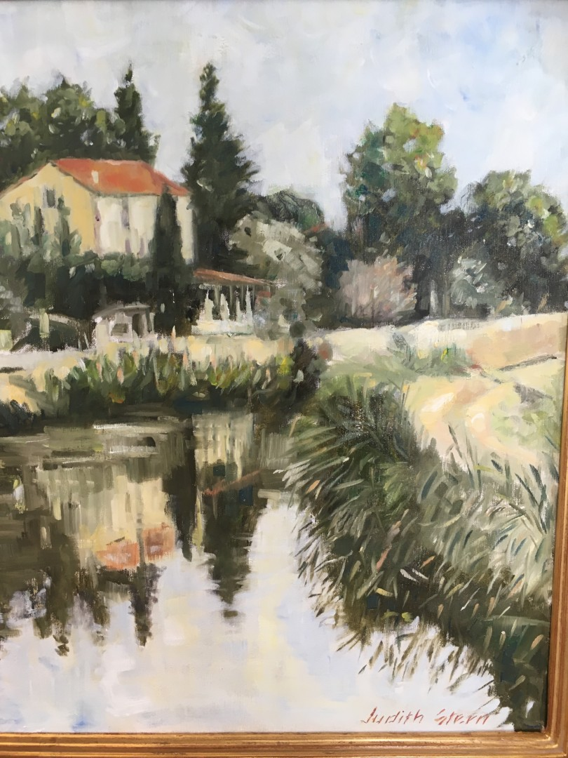 Auberge du Canal - artwork by Judith  Stern:  Landscape, Impressionism, Oil, Canvas