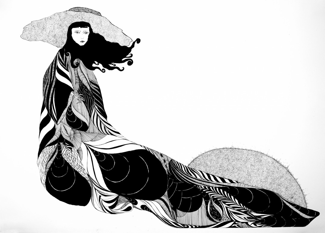 Wraith at Dusk drawing pen&ink stipling pattern textile representational workonpaper