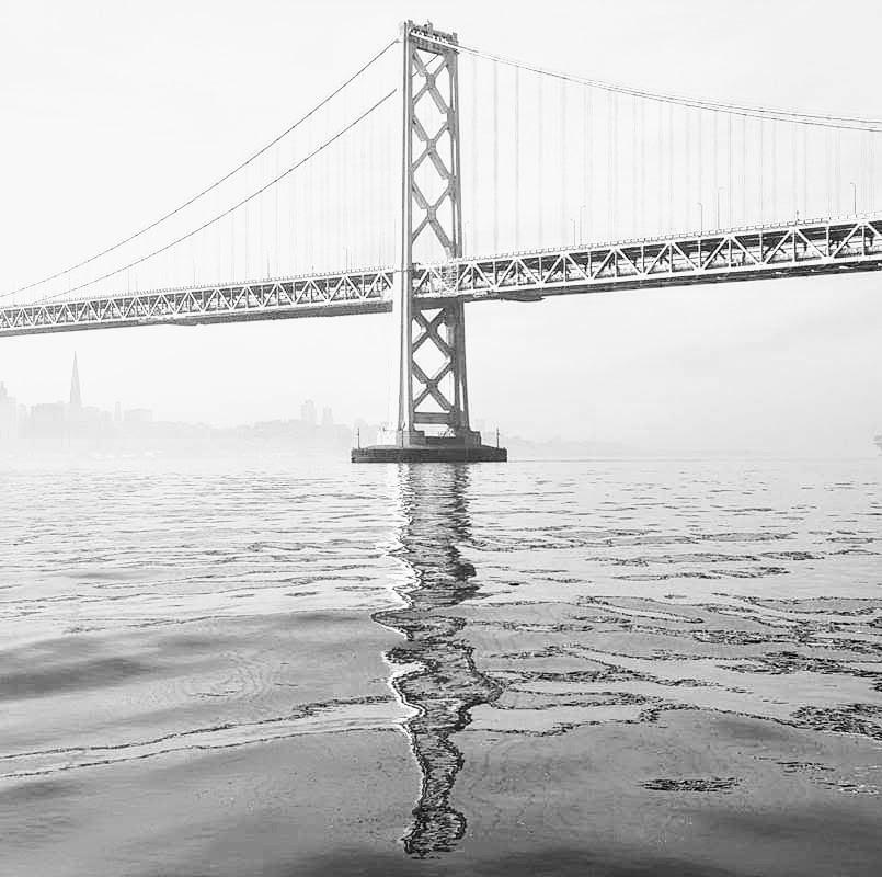 The Bay Bridge Surreal - artwork by Attap Pilram:  Seascape, Paper