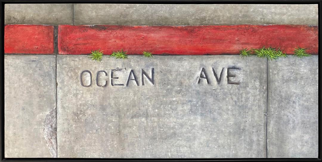 Ocean Ave - artwork by Kat Thomas: ocean ave, oil painting, kat, kat thomas, katt, plant growing in sidewalk, sidewalk, cement, concrete, grass in sidewalk, ingleside, persistence of nature Abstract, Realism, Oil, Canvas