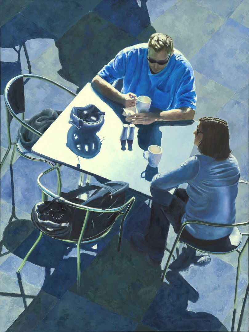 Afternoon Coffee at the de Young Cafe - artwork by Ilene Avery:  Figures, Realism, Oil, Canvas