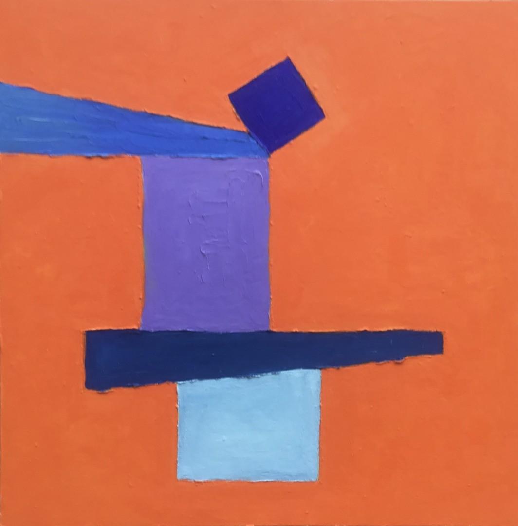 Orange/Blue - artwork by Renetta Happe´:  Abstract, Minimalism, Oil, Wood Panel