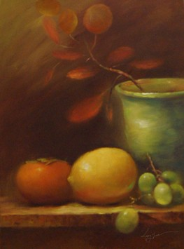 Still Life: Persimmon, Lemon and Grapes on Chinese Vase