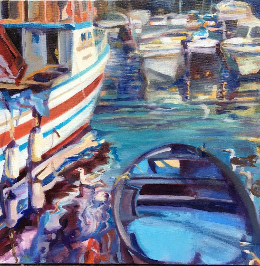 Pozzuoli Harbor - artwork by Mary Shiff:  Maritime, Oil, Canvas (stretched)