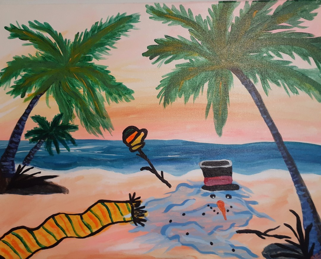Snowman in the Sun - artwork by Carrie Bertschy:  Seascape, Modern, Acrylic, Canvas