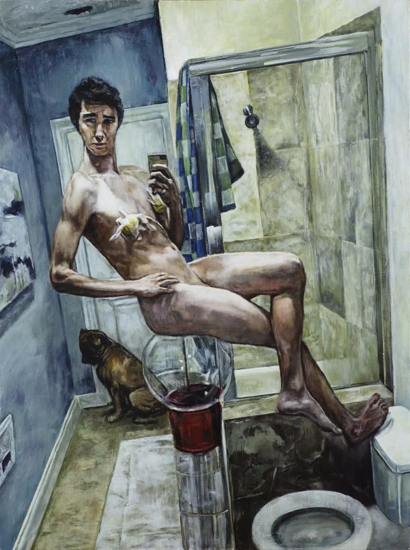 Selfie-Made Man - artwork by William Dais:  Figures, Realism, Oil, MDF Panel