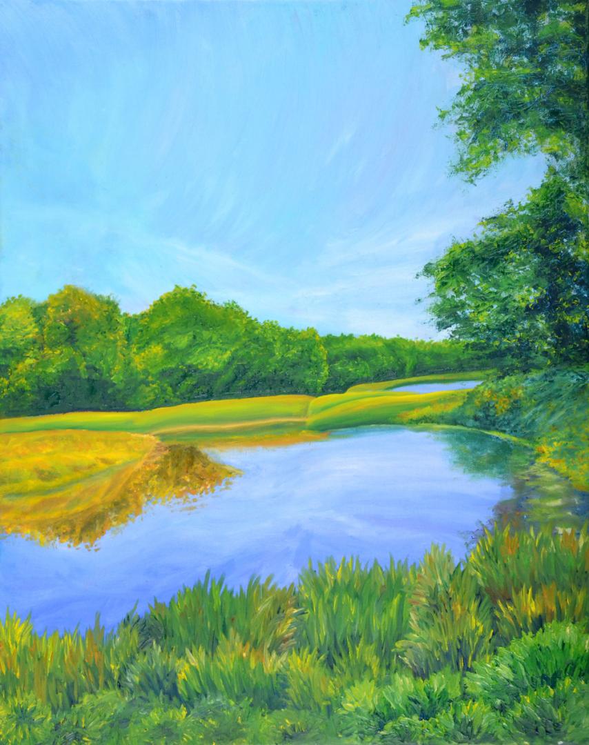 Snaking River - artwork by Mason Chapman:  Landscape, Impressionism, Oil, Canvas