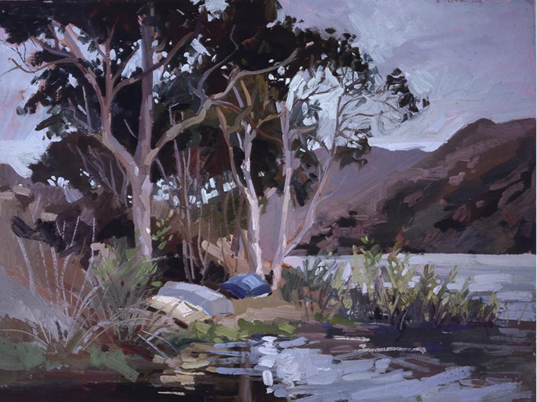 Safe Shelter, Catalina Island - artwork by Betty (Elizabeth) Jean Billups:  Landscape, Impressionism, Oil, Wood Panel