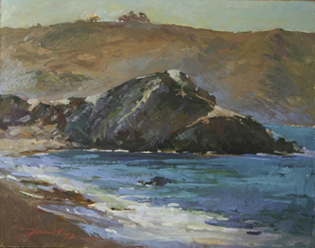 Shadow Side of Shark - artwork by Betty (Elizabeth) Jean Billups:  Seascape, Impressionism, Oil, Wood Panel