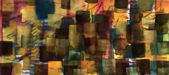 Fugue ©2020 June 04, Erica H. Adams, Watercolor on Paper: 9 x 20 inches