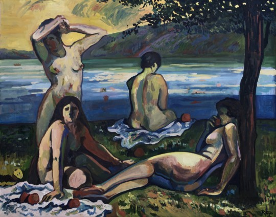 Bathers eating apples