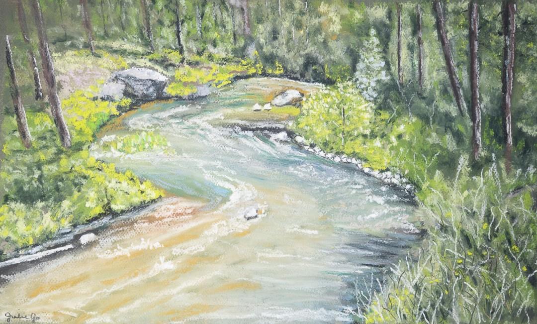 RiverBend - artwork by Julie Robbins:  Landscape, Realism, Pastels,