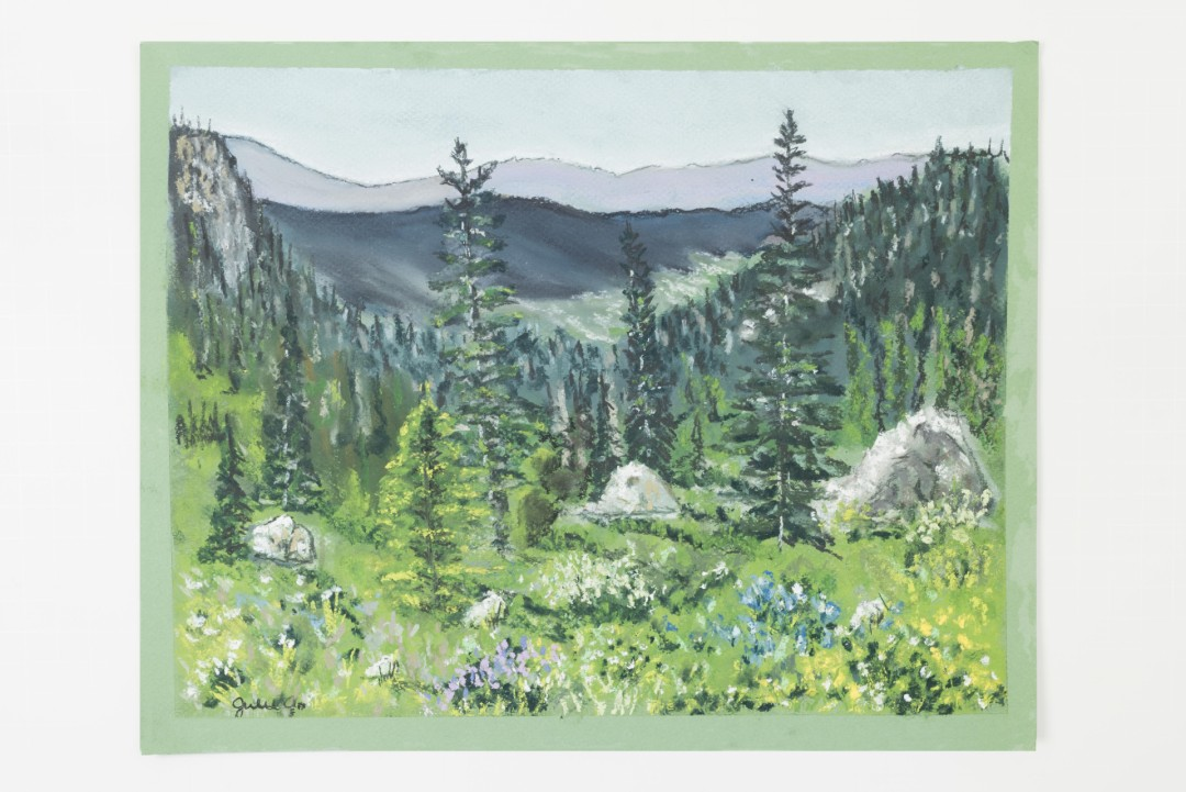 Hike to Blue Lake - artwork by Julie Robbins:  Landscape, Realism, Pastels,