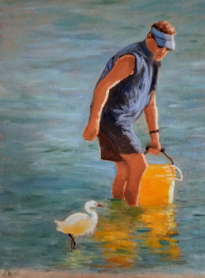 Netting Bait Fishing figure fisherman Florida seascape egret