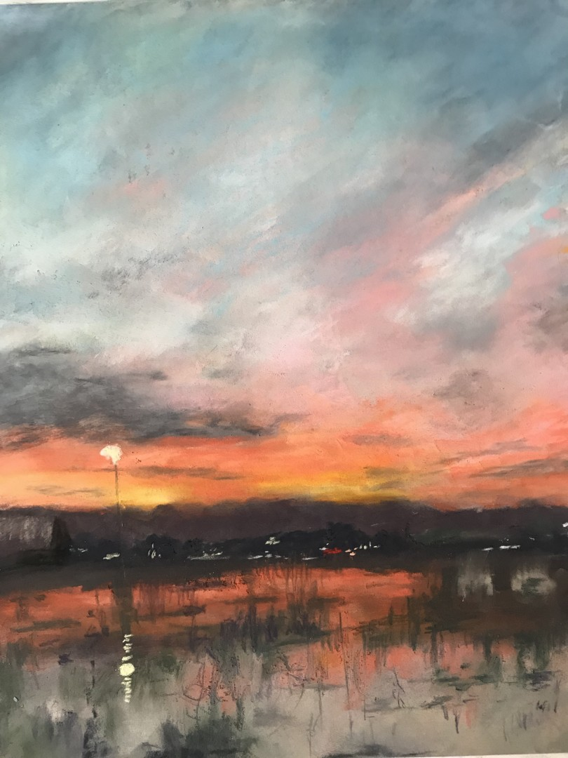 Late Winter, Early Evening - artwork by Nancy Woodward:  Landscape, Impressionism, Pastels, Paper