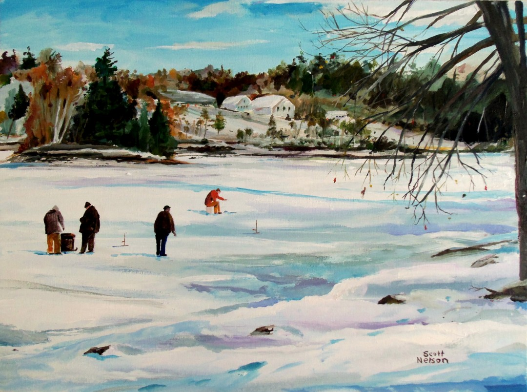 Ice Fishing - artwork by Scott Nelson: ice Fishing, Milbury, Lake Singeltary, New England Winter, Scott Nelson, ScottNelsonandSon, Cartoonist Landscape, Classical, Acrylic,
