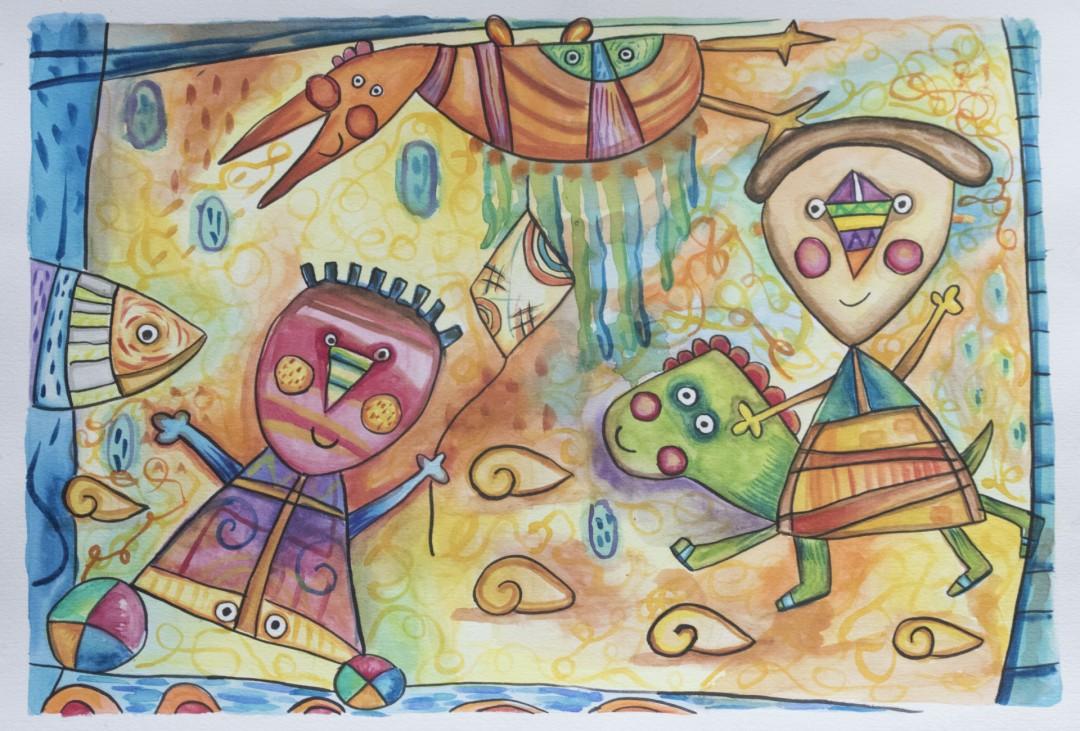 Kites on the Sky naive childish figurative art