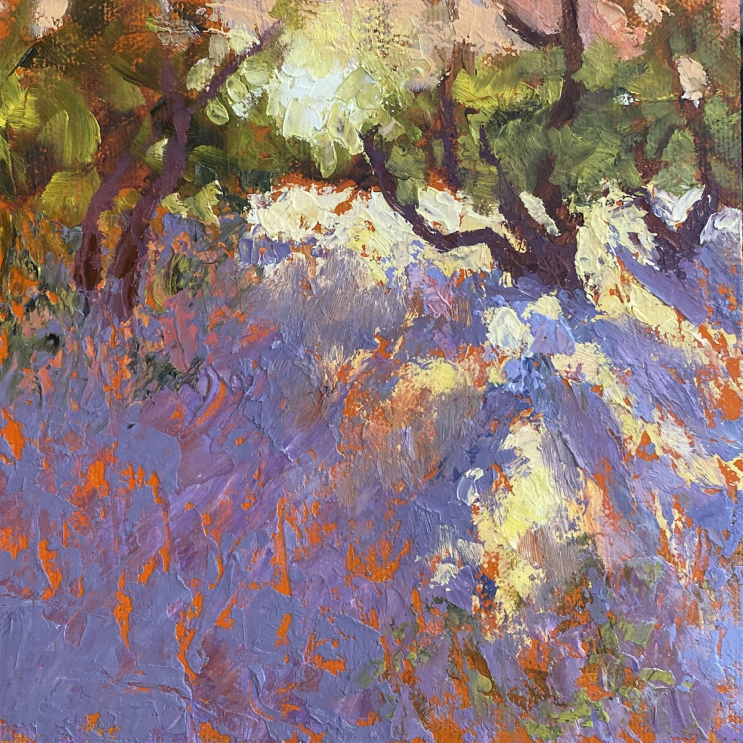 Desert Dance - artwork by Pat Doughty:  Landscape, Impressionism, Oil, Wood Panel