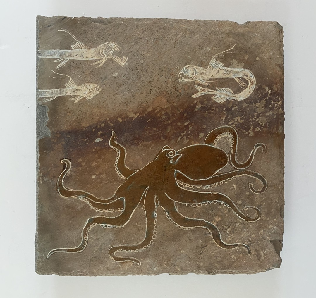 Octopus  - artwork by Michael Updike:  Seascape, Expressionism, Stone,