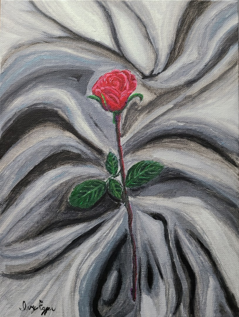 Rose on the Gray - artwork by Ivy Egger: rose, gray, red, black and white, red rose Gouache, Canvas