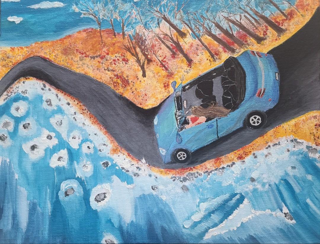 Alter Ego - artwork by Ivy Egger: car, blue car Gouache, Canvas
