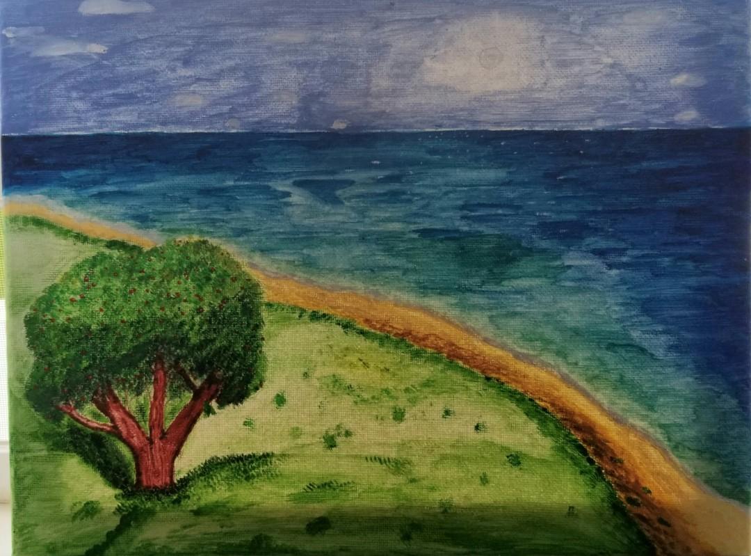 A Cherry Day  - artwork by Ivy Egger: cherry, cherry tree, seaside, sea, ocean, sunny day, beach, coast, coastline Landscape, Realism, Gouache,
